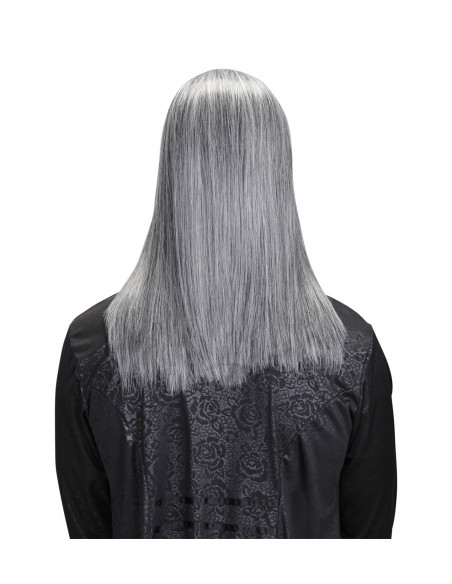 Peluca de canas de pelo largo Premium