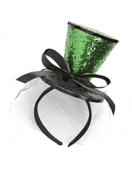 Diadema con mini chistera verde