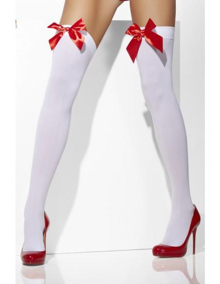 Medias blancas con lazo rojo