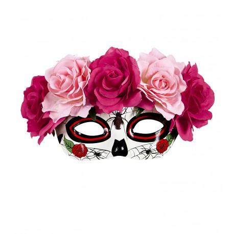 Antifaz de Catrina con flores Rosas
