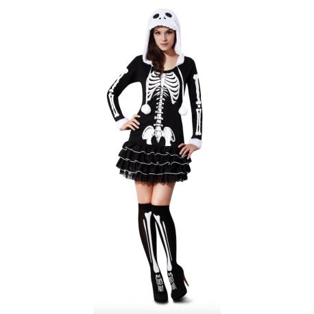 Disfraz de Esqueleto con capucha para mujer