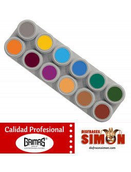 Paleta Maquillaje al Agua 12 unidades Colores Fuertes