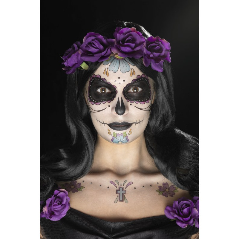 Kit De Tatuajes Y Maquillaje De Catrina Lila Comprar